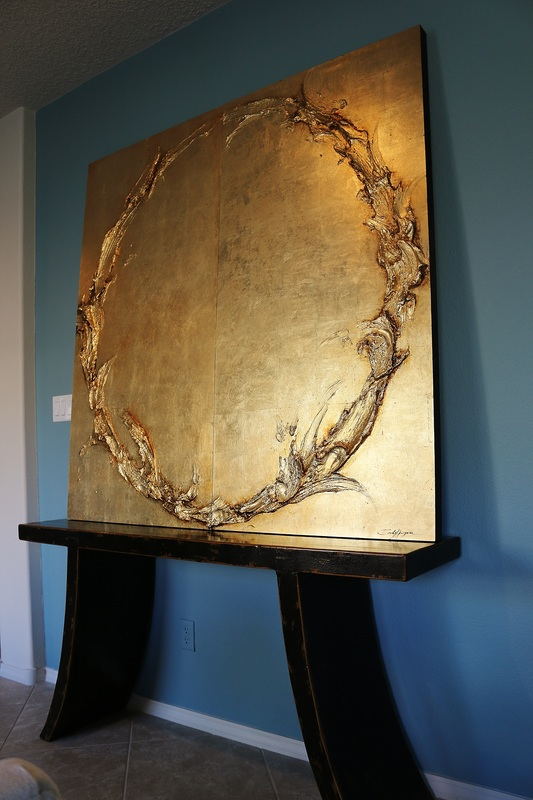 Sculptural Paintings Gold Leaf Silver Leaf Art Large Scale